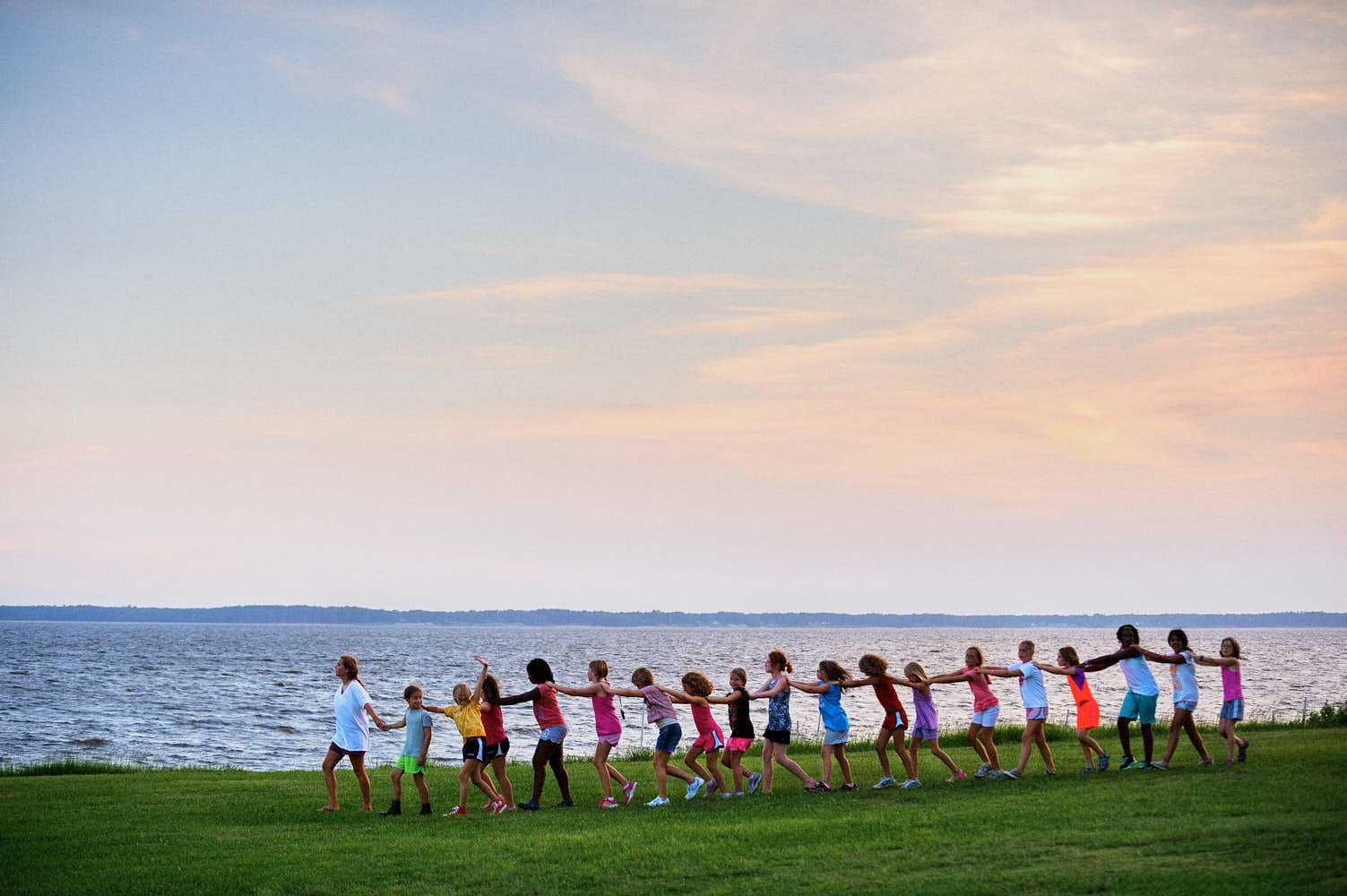 Campers playing a marching game at Camp Seafarer